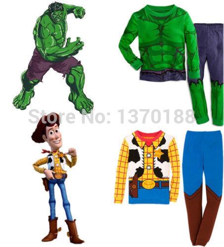 Hot sale The Hulk Toy Story Sheriff Woody Baby kids Boys Nightwear Sleepwear Pyjamas suits children's clothing set(China (Mainland))