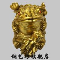 "bir 003452 10"" China Folk Bronze Yuanbao Coins Wealth Golden Toad Frog Statue Bronze"