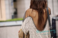 Spring Autumn T-shirt Mesh Stitching Strapless Backless Sexy T-shirts Women Casual Wool T-shirt Free Shipping