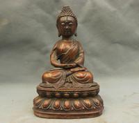 bir 003458 6'' China Tibet Buddhism Sakyamuni Buddha Sit Lucky Bronze Statue