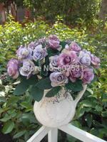Bride holding flowers gold Korea oil rose Wedding artificial flowers Bouquet table flower  party decorations flowers