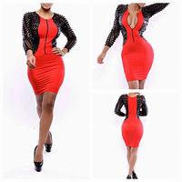 Women Clothing Dress Black Sleeve Patchwork Red Sexy Novelty Dress New Vestidos Femininos Sexy Backless Bodycon Bandage Dress