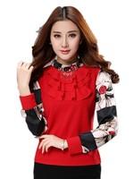 Free Shipping Spring 2015 Korean Ladies Long Sleeve Pullovrs Ruffles Printed Chiffon Shirt