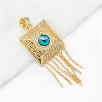 Min.mix order is $10 --Arab 9K Gold Filled CZ crystal Unisex Pendant greek nazar evil eye blue round eye in square