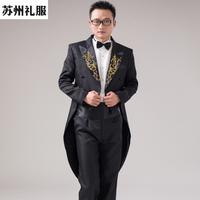 Men dresses tuxedo tuxedo groomsman mounted male host stage clothing magician Tuxedo Dress