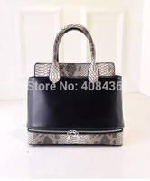 2015 New Personality Handbag Stitching Leather Snakeskin Bag Brand Designer High Quality Handbags Bolsas Free 0330A