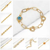 Min.mix order is $10 --Arab 9K Gold Filled Unisex bracelet plated chain greek nazar turkish charms gold