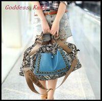2014 New arrival Fashion retro canvas women shoulder bag Vintage women pu leather handbag Casual women messenger bag  K011