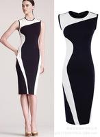 Hot Sale 2015 Summer Spring Women Sleeveless Knitting Dress Fashion Patchwork Pencil Dress Ladies Elegant Office Dresses