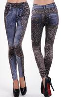New Arrival Leopard Women Slim Jeans Vintage Elastic Waist Casual Skinny Pants Ladies Sexy Printed Tattoo Leggings Trousers