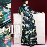 2015 Fantasy Floral Digital Print Stretch Silk(93%) Satin Fabric  1Meter   19Mommie
