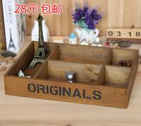 High quality  za kka wool five grid meat pallet wooden box vintage desktop cosmetics storage box 35.9*25.9*6.8cm