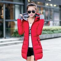 Woman's Snow Wear Hooded Down Jacket Woman Warm Down Coat Medium Long Winter Jacket White Duck Down 90%