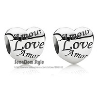 5Pcs/Lot Quality Love Beads 925 Silver 4MM Hole Language Of Love Amor Amour Charm Fits DIY European Bracelet SeenDom Jewelry