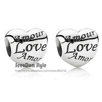 5Pcs/Lot Quality Love Beads 925 Silver 4MM Hole Language Of Love Amor Amour Charm Fits DIY European Bracelet SeenDom Jewelry