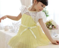 5pieces/lot Summer kids pleated dress with lace shawl, BG780