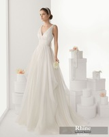 2015 Rhine Graceful Simple V Neck A Line Wedding Dresses Sleeveless Sweep Train Wedding Gowns Bridal Gowns