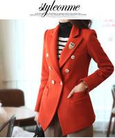 Plus size clothing spring 2014 trench mm top medium-long woolen outerwear wool coat sobretudo casaco Free shipping