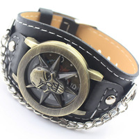 New Arrival Personality Men Dress Leather Wristwatches Fashion Sports Clamshell Bronze Quartz Watches Retro Casual Watch