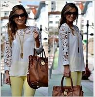 FREE SHIPPING plus size women clothing ladies blouses lace shirt