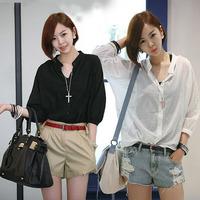 Women Casual Cotton Chiffon Blouse Plus Size Camisas Femininas Women Clothing Blusas White And Black Shirt Tee Top