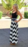 New European style Wave Black and White Striped Sleeveless Long bohemian Dress Beach dress
