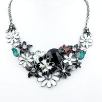 Top Quality Black and white Enamel Choker Necklaces Women's Party gift Gunblack  Alloy Pendant Necklaces A095