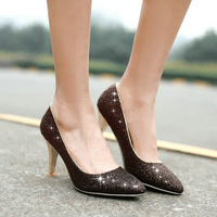 New sequined women high heels pumps 2015 New Design Sexy Pointed toe High Heel Shoes Party OL Less Platform Pumps size 34-43