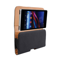 Luxury Black Pouch Leather Case Belt Clip For For Sony Xperia Z1 L39H Cell Phone Bag