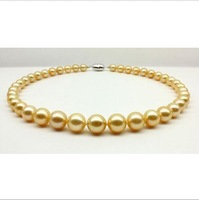 "18""10-11mm south sea natural gold pearl necklace 19""14k yellow gold clasp"