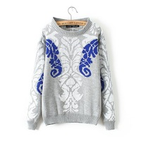 Stylish Brief TuTeng Pattern Women Warm Sweaters Long Sleeve O Neck Girl Casual Pullovers 2 Colors NAS4216