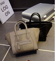 2015 Women Leather Handbags European Fashion Brand Designer Handbag High Quality crocodile  Bag Smile Face Bats Tote Bag A70-796