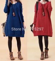 2015free shipping fashion brand women knitted sweater dress plus size loose long sleeve elegant g328vestido ladies knitted shirt