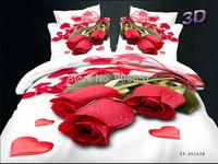 sexy red rose petal flower print 3D bedding cotton fabric full queen bed set quilt duvet covers sheet set girls home decor 4-5pc