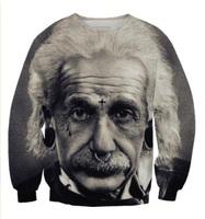 2015 New Men/Women's Sweatshirt 3D Character brand Einstein Print novelty sweatshirts pullover hoodies casual Sportwear sweater