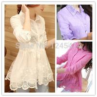2015 Hitz Korean Slim lace embroidered gauze shirt bottoming shirt long sleeve shirt fashion women