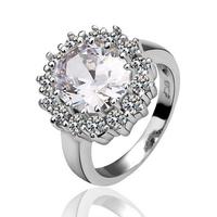 Free Shipping New Fashion Luxury Women Wedding Jewelry 18k Gold White Crystal Gem Zircon Female Finger Flower Rings Gifts 18R028