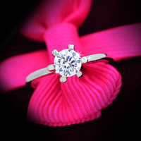 New Fashion jewelry Wholesale 6 claw with CZ wedding zircon finger ring gift for Valentine's Day women ladies R1305