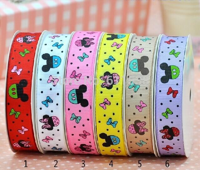 3/8'' 9mm cute cartoon grosgrain ribbon single face 100 Yards/roll grosgrain Ribbon 6 colors(China (Mainland))