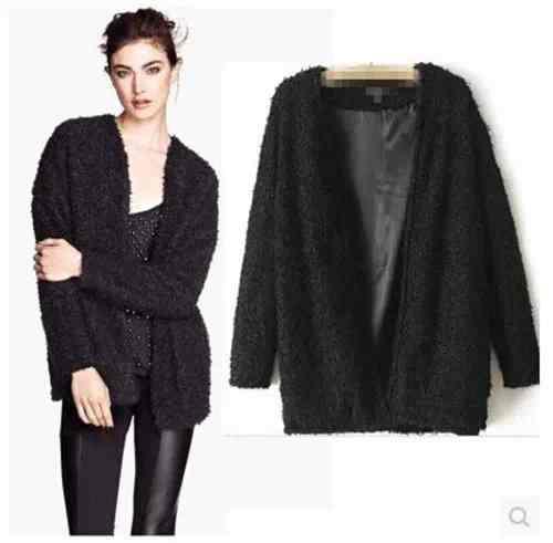 Free Shippinglambs wool coat ladies fashion black lambs wool coat Cardigan 912 20141250505(China (Mainland))