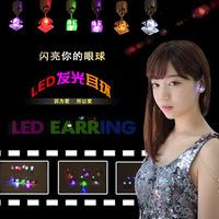 New Japan Korea style LED light earrings, hot square earrings couple, light led jewelry earrings, fashion flashlight