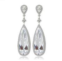 2015 new item for women 18k white gold plated drop earrings for women gift for wife AAA zircon jewelry earrings wholesale