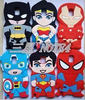 3D Cartoon Superhero Captain Iron Man Batman Superman Silicone Case Cover for Samsung Galaxy note4 N9100