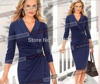 Women Work Wear New Designer Draped V-neck Pencil Dress Three Quarter Sleeve Slim Waist Tunic High Street Formal Midi Dress H69