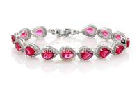 Red Ruby Teardrop Zircon Bracelet Fashion Bridal Wedding Jewelry