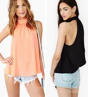 2015 summer Women blouses european style Woman Chiffon Blouse Shirts Round Collar Sleeveless Ruffles Tops camisas Tank top