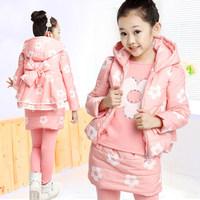Children's clothing female child with a hood child flower three piece set