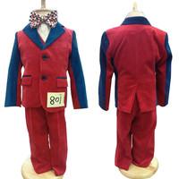 100% Corduroy Baby Clothes Set Red & Blue Patchwork child suit 4-piece Boys vest outerwear trousers Bow Tie Costumes Kid Blazers