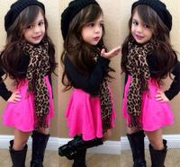 7Set Children girl's 220721 fashion girl child exquisite set Long sleeve top+leopard print scarf +short skirt  3-piece/set
