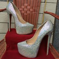 Free shipping luxury white silver rhinestone crystal wedding bride woman big size brand designer 160mm 16cm heel pump shoes